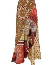 Chloé Patchwork Printed Silk Twill Maxi Skirt