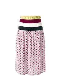 Marni Ruched Waist Printed Midi Skirt