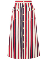 Gucci Striped Denim Midi Skirt