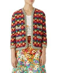 Gucci Gg Rainbow Stripe Velvet Jacket