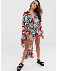 ASOS DESIGN Glam Cape Back Beach Playsuit In Scarf Print