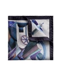 Eton Blue Rocket Man Silk Pocket Square