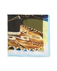 Etro Sombrero Print Silk Pocket Square Brown One Size