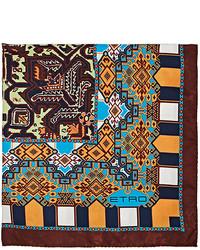 Etro Folkloric Print Silk Twill Pocket Square