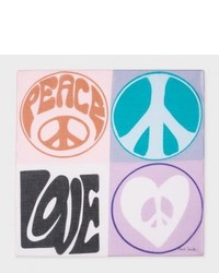 Paul Smith Mauve Peace And Love Print Large Cotton Pocket Square