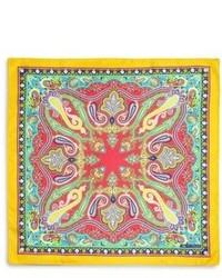 Etro Silk Paisley Print Pocket Square