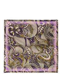 Dries Van Noten Yellow And Purple Silk Foliage Pocket Square