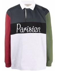 MAISON KITSUNÉ Parisien Embroidered Colour Block Polo Shirt