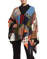 Chloé Chloe Patchwork Knit Poncho Multi Colors