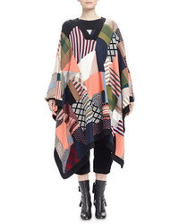 Chloé Chloe Patchwork V Neck Poncho Sweater
