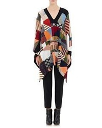 Chloé Patchwork Knit Poncho Sweater Multi