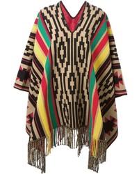 Striped aztec knit poncho medium 348481
