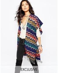 Sunshine soul poncho blanket cape in multi zig zag pattern medium 348465