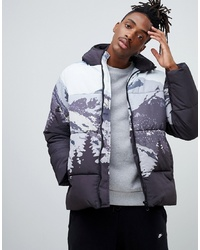Multi colored Print Puffer Jacket