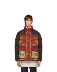 Gucci Red And Green Down Baroque Gillet Jacket