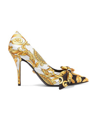 Versace Printed Silk Faille And Leather Pumps