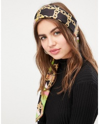 ASOS DESIGN Large Square Polysatin Headscarfneckscarf In Bright Chain Print