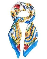 Dolce & Gabbana Majolica Print Silk Twill Scarf