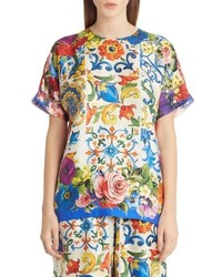 Dolce & Gabbana Tile Print Silk Top