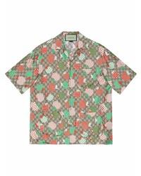 Gucci Apple Print Short Sleeve Shirt