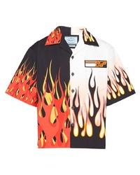 Prada Double Match Flames Print Shirt