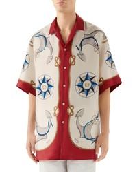 Gucci Nautical Print Oversize Bowling Shirt