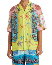 Versace Tresor De La Mer Short Sleeve Button Up Shirt