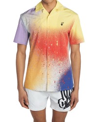 Off-White X Katsu Offkat Spray Short Sleeve Cotton Button Up Camp Shirt