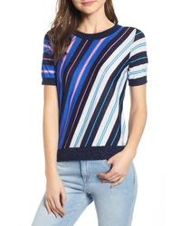 J.Crew Diagonal Stripe Short Sleeve Cotton Wool Blend Sweater
