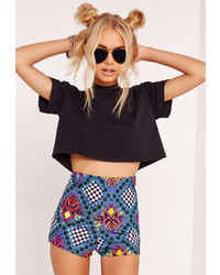 Missguided Tribal Print High Waisted Hotpants Blue