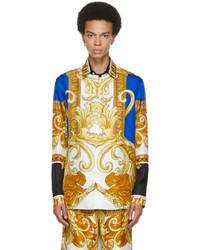 Versace Blue Gold Silk Medusa Renaissance Shirt