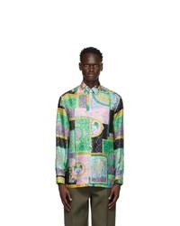 Versace Multicolor Silk Barocco Patchwork Shirt