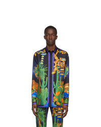 Versace Multicolor Silk Palm Springs Shirt