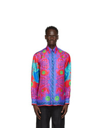 Versace Purple And Red Silk Medusa Trionfo Shirt