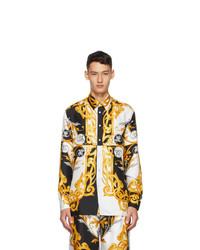 Versace White And Gold Silk Barocco Shirt