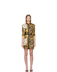 Versace Multicolor Silk Barocco Shirt Dress