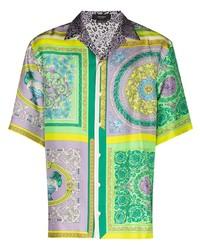 Versace Barocco Mosaic Print Panelled Shirt