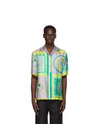 Versace Green And Grey Silk Barocco Mosaic Shirt