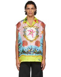 Versace Multicolor Silk Trsor De La Mer Sleeveless Shirt