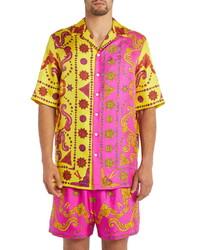 Versace Short Sleeve Silk Button Up Shirt