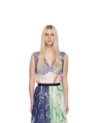 Marina Moscone Multicolor Silk Print Tank Top