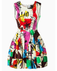 Choies color block graffiti print dress medium 77153