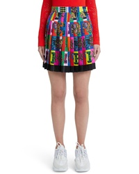 Versace Alphabet Print Pleated Silk Skirt
