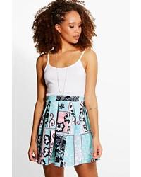 Boohoo Bahira Floral Print Box Pleat Skater Skirt