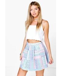 Boohoo Briella Pastel Tile Print Box Pleat Skater Skirt