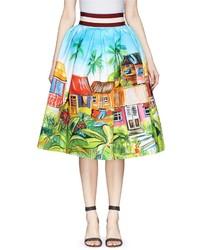 Stella Jean Cammello Tahitian Print Pouf Skirt