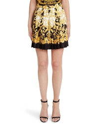 Versace Hibiscus Print Pleated Silk Skirt