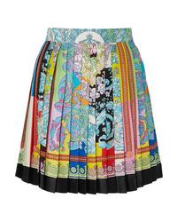 Versace Pleated Printed Silk Twill Mini Skirt