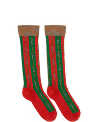 Gucci Green And Red Chain Socks