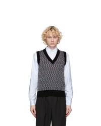 MAISON KITSUNÉ Multicolor Jacquard V Neck Vest